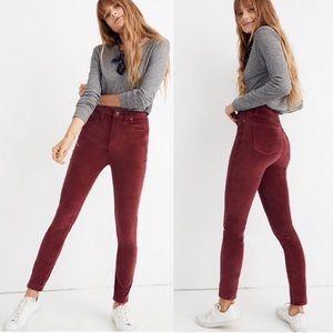 """NWT Madewell 10"""" High Rise Skinny Velvet Jeans"""